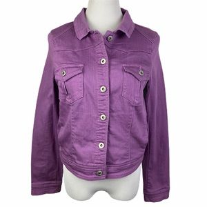ONE WORLD Purple Button Front Denim Jacket Medium